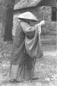 Following where the blood of the Buddha's will lead -- in kesa with monks staff and hat leading a procession during Jukai ceremonies