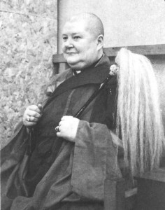 A formal picture of Reverend Master Jiyu in her meditation hall chair