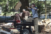 Preparing firewood at Shasta Abbey