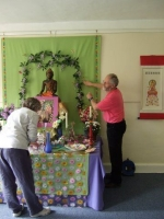 Setting up a Wesak altar, North Norfolk Sangha