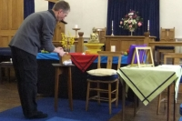 Setting up the Sheffield group's altar